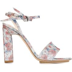 Delpozo glitter floral sandals (1.405 RON) ❤ liked on Polyvore featuring shoes, sandals, grey, flower print shoes, floral sandals, floral print sandals, grey leather shoes and pattern leather shoes