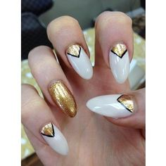 gold triangles black/white Almond Nails polyvore.com