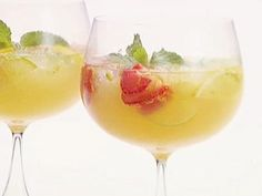 Champagne Sangria Got great reviews from party-goers. Skip the simple syrup and add mint as garnish.