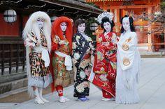 "geisha-kai: ""Setsubun's obake - geiko Ichiteru, Katsuru, Ichimomo, Katsuya and Naosome dressed up for a skit (SOURCE) """