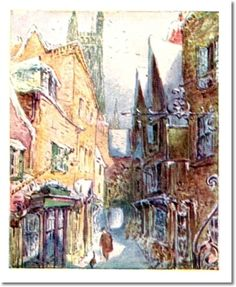 Beatrix Potter II - Beatrix Potter - The Tailor of Gloucester - 1903 - Cat and Tailor Walking in Street Painting