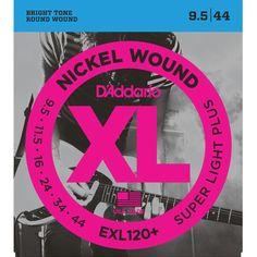 D'Addario EXL120+ Nickel Wound Super Light Plus - Jeu de 6 cordes pour guitare électrique. Tirants : 0095 - 0115 - 016 - 024 - 034 - 044