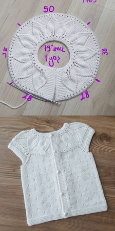 Lille Dahlia Romper pattern by Lene Holme Samsøe Diy Crochet Sweater, Baby Sweater Knitting Pattern, Crochet Baby Cardigan, Sweater Knitting Patterns, Knit Crochet, Knit Baby Sweaters, Knitting For Kids, Free Knitting, Baby Knitting