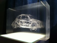 Fiat 500 sculpture Steve Clarkson- 16 layers of laser etched acrylic