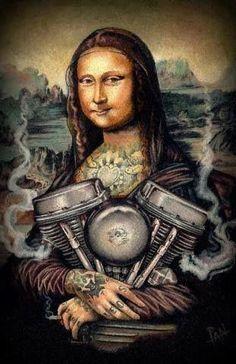 Mona Lisa smiles...and rocks some ink! Harley-Davidson of Long Branch www.hdlongbranch.com #harleydavidsonmotorcycles #harleydavidsongirlsawesome