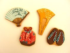 Kimono Accessories Cupcakes, Cupcake Cookies, Sugar Cookies, Fall Cookies, Cute Cookies, Japanese Cookies, Iced Biscuits, Food Artists, Chocolate Snacks