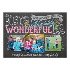 It's a Wonderful Life Chalkboard Holiday Card with hand drawn elements. By Barbara Neely Designs on Zazzle. http://www.zazzle.com/BarbaraNeelyDesigns?rf=238104518502074178