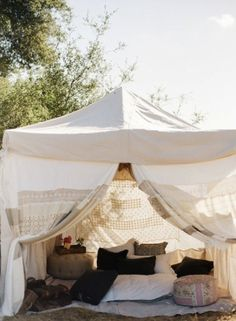 Glam + Camping = Glamping - I think I could do this if someone else sets it up and takes it down.