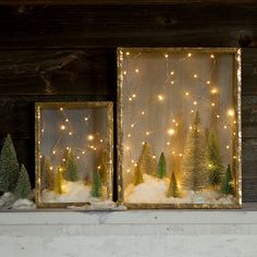 Glitter some shadow boxes (on special at Michaels), add glitter trees, faux snow and copper seed lights.