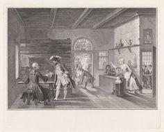 Pieter Tanjé   De Puiterveense helleveeg achter de tap, Pieter Tanjé, Cornelis Troost, 1752 - 1761   De verklede dieven Jan de Rolder en Piet Pothuis heffen het glas in de gelagkamer, waar Swaantje achter de tapkast tegen haar man Fobert staat te tieren. Ze is daar zo druk mee, dat ze niet door heeft dat ze wordt bestolen. In de zijkamer rechts zitten Hartje Spilpenning en Saartje van Lichten gekleed als doopsgezinden. Scène uit het tweede bedrijf van het toneelstuk De Puiterveense…
