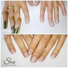 Paznokcie żelowe z wykończeniem french - zapraszamy do She! #manicure #nails #paznokcie #french