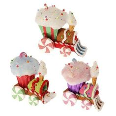 "RAZ Candy Train Ornament Set of 3  3 Assorted Trains Set includes one of each style Made of Polyfoam Measures 7.5"" X 8.5"" X 4.5"", 7.5"" X 7.5"" X 4.5"", 7.5"" X 8"" X 4.5""  RAZ Christmas Moose 2013"