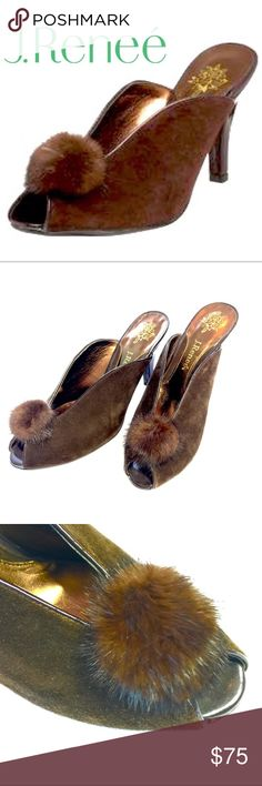 """EUC J. Renee Leather Open Toe Slides in Ladies 7.5 Bold and beautiful as a fashion statement and a classic style with attitude, this Chocolate leather open toe slide will be a new staple in your closet. Beautiful, cushioned 2.5 inch heel statement for on trend wearable runway. The Chantile features a mink """"bunny tail"""" detailing on each upper for epic style. This shoe runs true to size.  Make a style statement for any occasion with J. Renee'. J. Renee Shoes Heels"""