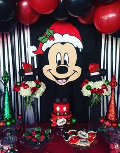 this fun Christmas Mickey birthday party! The birthday cake is great! See more party ideas and share yours at Disney Christmas Party, Mickeys Christmas Party, Christmas Birthday Cake, Minnie Mouse Christmas, Christmas Party Decorations, Mickey Mouse Birthday, Christmas Cakes, Birthday Decorations, Mickey Mouse Parties