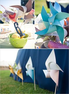 The pinwheels on the ground, along the tables..cute