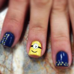 Minion nail art despicable me check out www.ThePolishObse... for more nail art ideas.