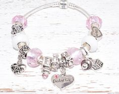 Authentic Pandora Charm Bracelet European Beads Baby Girl New Mom Pink Pearl Sterling Silver Gift