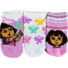 Dora The Explorer Infant Girls 3-Pair Raspberry Assorted Safety Socks Q4200 Nick Jr