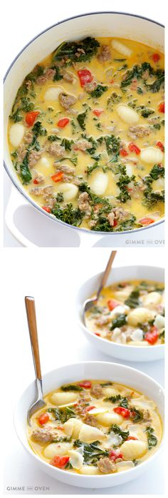 Zuppa Toscana (Creamy Gnocchi Soup with Sausage and Kale) Easy Zupa Toscana -- inspired by the famous recipe from Olive Garden, and ready to go in 30 minutes Soup Recipes, Dinner Recipes, Cooking Recipes, Healthy Recipes, Cooking Games, Cooking Classes, Easy Zuppa Toscana Recipe, Zupa Toscana Soup, Zoupa Toscana