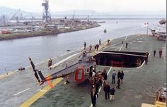 Oct., 1968: Aft deck on HMCS Bonaventure.#CanadasMilitaryHist Royal Canadian Navy, Navy Aircraft Carrier, Rubber Raincoats, Naval History, Canadian History, Brick Road, Flight Deck, Navy Ships, Battleship