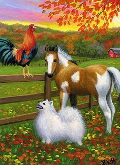 Rooster dog pinto foal horse farm sunrise fall autumn original aceo painting art Artist Bridget Voth Ebay ID star-filled-sky