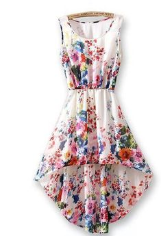 febcca0b21b Sleeveless after short before long small broken flower printed chiffon dress