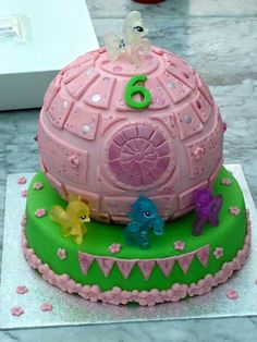 Pink star wars death star little pony cake