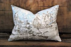Antiqued French Linen Toile Pillow. Includes by HomemakerMovement