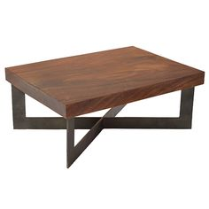 Solid Wood Tamburil Slab Coffee Table - Metal Base - Dering Hall