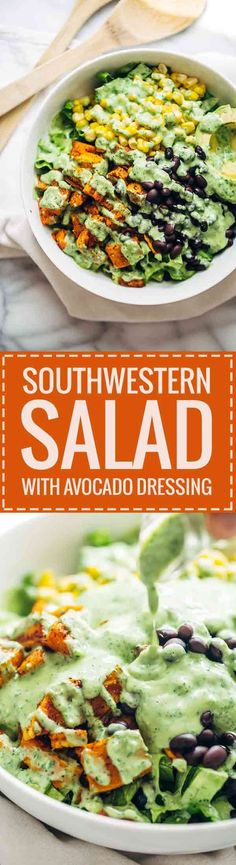 Spicy Southwestern Salad with Avocado Dressing recipe - a huge bowl of flavor-packed, colorful, healthy real food for 315 calories. Vegetarian / easily adaptable to vegan.