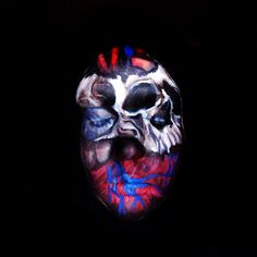 Skull and anatomical heart face paint. Find me on IG-Kim whitesel
