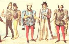 "Here we see a variety of doublets and cote-hardies. The term ""doublet"" begins to signify a short, fitted garment, usually worn in multiples (possibly one for warmth and 1-2 others of a more decoartive nature). The two men at the left and the second man from the right wear doublets The second man from the right is also wearing an open houppelande over his doublet.    A cote-hardie may be worn over these doublets. The two previously unmentioned men are presented in this manner. Cote-hardies…"