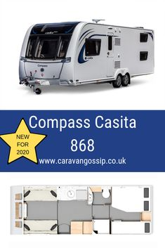 The Compass Casita 868 is a new family layout for It is an wide caravan on a twin axle chassis. It has a fixed double bed and fixed bunk beds at the rear. The bathroom is located mid-van with a make up double at the front 6 Berth Caravan, Caravan Reviews, Caravans, Double Beds, Motorhome, Compass, Bunk Beds, Recreational Vehicles, Tiny House