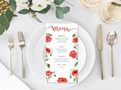 Your place to buy and sell all things handmade Wedding Menu, Floral Wedding, Wedding Flowers, Wedding Ideas, Watercolor Poppies, Watercolor Wedding, Printable Menu, Printables, Wedding Invitation Suite