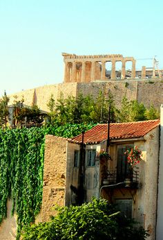 View of Acropolis from the museum (like a card postal), Athens, Greece