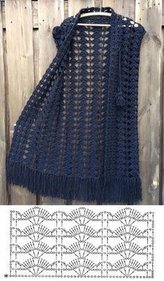 10 modelos de blusa de crochê com gráfico do ponto ⋆ De Frente Para O Mar Gilet Crochet, Crochet Cardigan Pattern, Crochet Jacket, Crochet Blouse, Crochet Poncho, Crochet Stitches, Crochet Vests, Crochet Sweaters, Vest Pattern