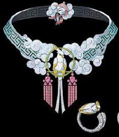 Van Cleef & Arpels original drawing of L'Oiseleur Necklace (& single earring); from Bals de Legende Collection;