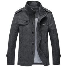 Men's Fall Winter Fashion Mature Stand Collar Retro Woolen Jacket Online - NewChic Mobile version.