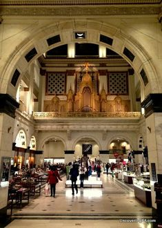 Looking into Macy's atrium at the Wanamaker Organ's pipes in Philadelphia, Pennsylvania - http://uncoveringpa.com/visiting-the-wanamaker-organ