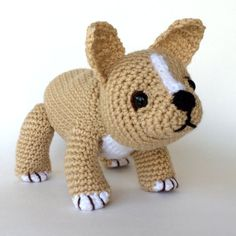 **THESE ARE THE WRITTEN INSTRUCTIONS OR PATTERN FOR THIS PUPPY. IT IS NOT THE FINISHED ITEM**  Ive had requests from some customers for a French Bulldog, so here he (or she) is. I looked at photos of actual puppies to get him as close to the real thing as I could. Hopefully I succeeded. He is 6 1/2 tall to tops of ears and 9 inches long.  He is done entirely in single crochet in amigurumi style with the exception of his ears which have some half double and double crochet and are done in rows…