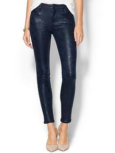Blue Navy 7 For All Mankind Knee Seam Skinny Jean   Piperlime $215