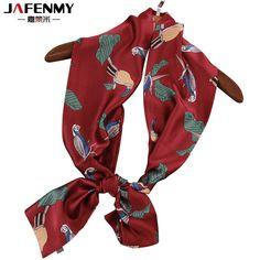 Летние длинные узкий мешок прокладка маленькие полотенца галстук красный попугай шарф Женская мода женские шарфы печати женские шелковые шарфыкупить в магазине jafenmy StoreнаAliExpress