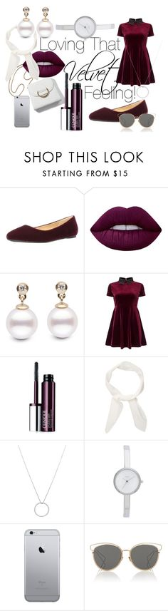 """""""Lovely Velvet"""" by rarimena ❤ liked on Polyvore featuring Lime Crime, Miss Selfridge, Clinique, Chloé, Roberto Coin, DKNY, Christian Dior, contest, purplelipstick and lovethatvelvetfeeling"""