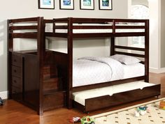Twin/ Twin Bunk Bed With Trundle Pine Ridge Collection Cm-Bk966
