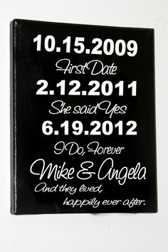 Wedding date sign  vinyl on hand painted