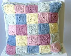 Pastel crochet cushion cover reversible cushion cover by BabanCat Crochet Cushion Cover, Crochet Pillow, Baby Blanket Crochet, Crochet Baby, Knit Crochet, Crochet Home, Crochet Crafts, Crochet Projects, Knitted Cushions