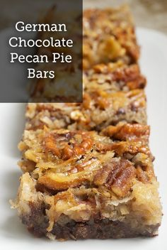 German Chocolate Pecan Pie Bars  – This delicious pecan snack recipe will get you lots of compliments at your holiday parties! Bake it as a party treat!