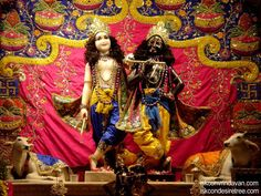 Sri Krishna and Sri Balaram in Blue Yellow Dhoti with a Golden Crown and a Golden Flute and their Hairs are Curley