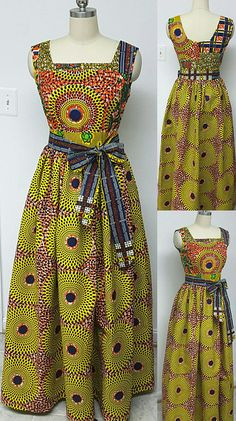 Multi African Print Fitted Waist Sleeveless Maxi Dress. Inside Pockets. Womens. Handmade. Orange Yellow Red African Print. Vibrant Colors.