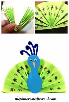 Paper Fan Craft For Kids Bleeding Tissue Peacocks Letter P Crafts For Kids Crafts Summer Arts And Crafts, Arts And Crafts For Teens, Art And Craft Videos, Arts And Crafts House, Easy Arts And Crafts, Art For Kids, Peacock Crafts, Bird Crafts, Paper Plate Crafts